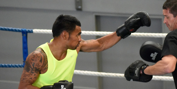 Loading READY TO RUMBLE: Gunnar Jackson training with Chris Walker at TgaBox ahead of tonight's bout in Auckland. PHOTO/GEORGE NOVAK