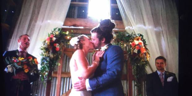 A photo taken of Tauranga photographer Brett Morrison's camera's display screen of Katie and Michael Julian's wedding before the camera and its memory card were stolen. PHOTO/BRETT MORRISON