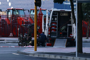 The defence bomb disposal robot on Quay Street in Central Auckland after a suspicious package was found during the commuter rush hour. Photo / Nick Reed