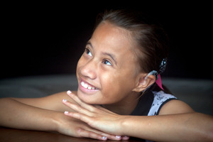 Jurnee McCaskill, 9, has had her cochlear implant put in her right ear. Photo/Andrew Warner
