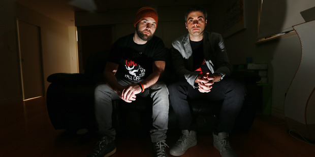 Loading Auckland film makers make it to Hollywood. Harley Neville (producer/actor) and Guy Pigden (Director/Writer) in the living room they filmed in. Photo / Doug Sherring