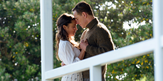 Alicia Vikander and Michael Fassbender in a scene from, The Light Between Oceans. Photo / AP