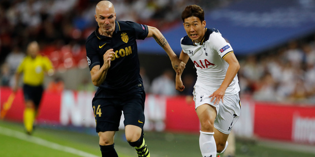 Tottenham's Son Heung-min, right, could be called up for military service. Photo / AP