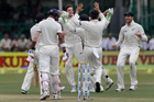 New Zealand team celebrates the wicket of India's Lokesh Rahul during first their first cricket test in Kanpur, India. Photo / AP