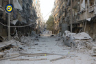 Heavily damaged buildings after airstrikes hit in Aleppo, Syria. Photo / AP