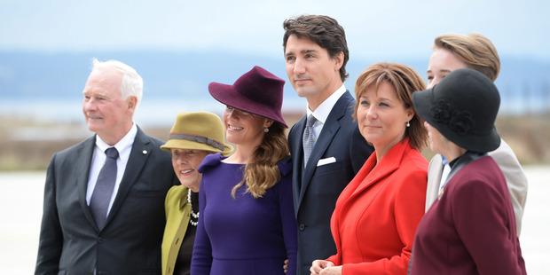 Gov. General David Johnston, Sharon Johnston, Sophie Gregoire Trudeau, Prime Minister Justin Trudeau, British Columbia Premier Christy Clark and Lt.-Gov. of British Columbia Judith Guichon. Photo / AP
