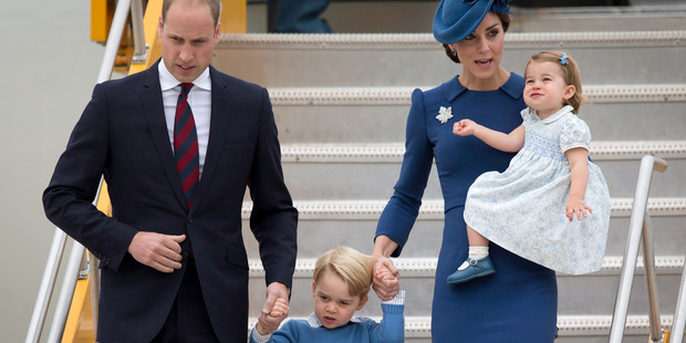Prince William and Kate, the Duke and Duchess of Cambridge, along with their children Prince George and Princess Charlotte arrive in Canada. Photo / AP