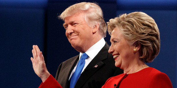 Republican presidential candidate Donald Trump, left, stands with Democratic presidential candidate Hillary Clinton at the first presidential debate at Hofstra University. Photo / AP