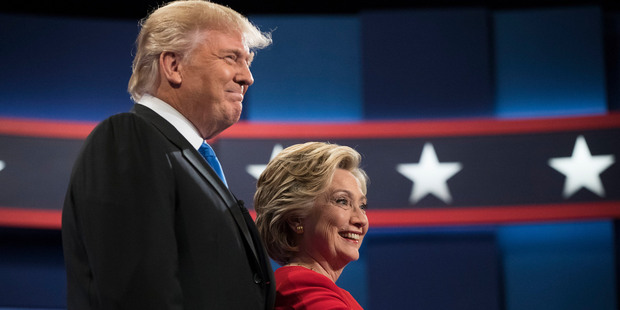 Democratic presidential candidate Hillary Clinton and Republican presidential candidate Donald Trump meet at the start of the first debate. Photo / AP