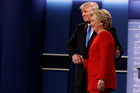 Donald Trump shakes hands with Hillary Clinton during the first presidential debate at Hofstra University. Photo / AP