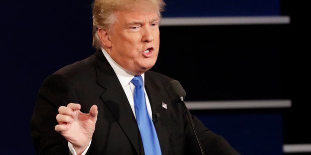 Republican presidential nominee Donald Trump answers a question during the presidential debate. Photo / AP