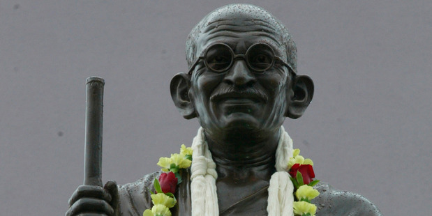 An Auckland statue of Mahatma Gandhi. Should his legacy be forgotten because of recent claims of racism from more than 100 years ago? Photo / Glenn Jeffrey