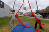 CIRCUS: A sensory training circus class is being held at Bayfair Shopping Centre. L-R Martin Gower, Rebecca Bilyard, Rowan Dawson. PHOTO/FILE