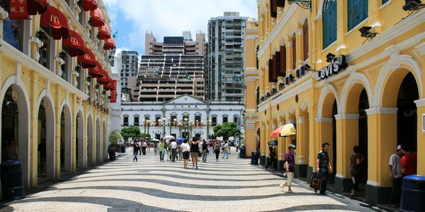Go shopping in Senado Square and see the Ruins of St Paul's, Macau's most famous landmark. Photo / Jim Eagles
