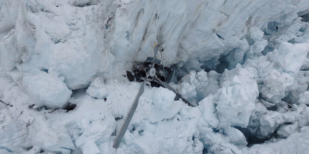 Wreckage of a Alpine Adventures Scenic Flights at Fox Glacier. All seven people on board died.