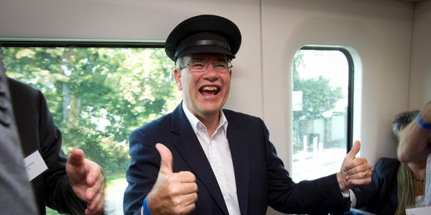 Mayor Len Brown on the train. Photo / Sarah Ivey