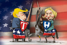 Ninety four per cent of CEOs nominated Hillary Clinton as their choice for president. Illustration / Rod Emmerson