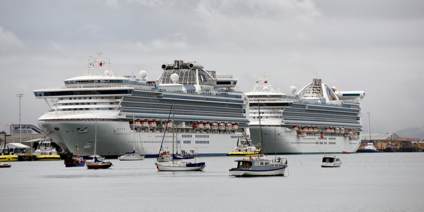 The Diamond Princess, left, and Golden Princess berthed in Tauranga Harbour. Photo/File