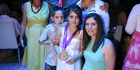 Shefa Shukrun poses with her sister, Gold medal winning sailor Jo Aleh, and her ten year old brother Yaam, at her Bat Mitzvah in Israel.