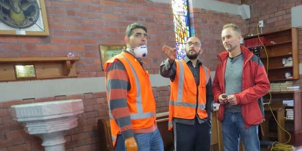 EQStruc engineers Aden Younan, Dmytro Dizhur and Rod Stokes on site this week performing a thorough inspection of St Mary's Church.