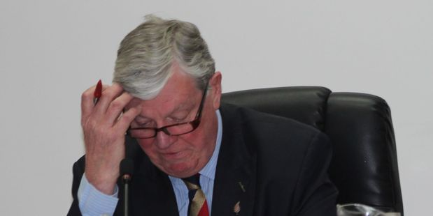 Emotional: Retiring Tararua District mayor Roly Ellis reads his farewell words to district councillors and council staff at the end of his final meeting on Wednesday afternoon.  Reporter: Chr