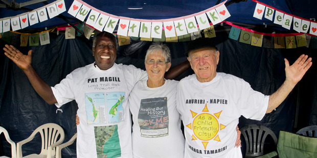 PARTY TIME: Veteran social justice activist Pat Magil (right) prepares for his 90th birthday, at home with Jerry Esrom Kaun, from Vanuatu, and Helen Lloyd, of Napier. PHOTO/WARREN BUCKLAND