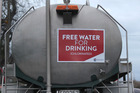 A Hastings District Council water tanker with free water on Campbell St, Havelock North, after a gastro outbreak in Havelock North. PHOTO/DUNCAN BROWN