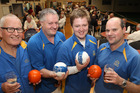 Jim Bentley (left), 70, Craig Drummond, 49, son Dean Drummond, 22, and Murray Glassey, 40, after winning the Ross Morgan Classic Fours at Bowls Heretaunga, Hastings. PHOTO/Duncan Brown