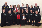 DOUBLE DELIGHT: Members of the Hastings Squash Club's national title winning F grade (front) and B grade women's (back) teams. PHOTO/DUNCAN BROWN