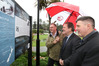 CLOSE CALL: Pictured (from left) is author Andrew Harris, Napier mayor Bill Dalton and Peter Trevathan, checking out the new signage on Marine Parade. PHOTO DUNCAN BROWN