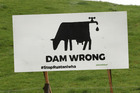 A Greenpeace billboard on Te Aute hill is one of 10 erected in the region this week, protesting the prospect of intensified dairy farming with the Ruataniwha dam. PHOTO/DUNCAN BROWN