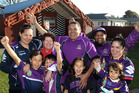 STORM WHANAU: Some of Tohu Harris' family get in the mood in the countdown to tomorrow night's grand final. PHOTO/DUNCAN BROWN