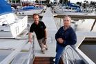 WATERWISE: Whangarei Marina manager Brian Caulton (left) and Whangarei Marina Trust chairman Noel Douglas on the new concrete pontoon at the Town Basin. PHOTO/JOHN STONE