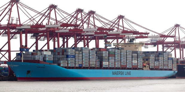 A 9500 TEU Maersk container ship of the kind that will visit Port of Tauranga from next week. Photo / AP