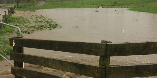 The rain created a bit of a creek at this dairy farm on Kara Rd, Maungatapere. PHOTO/SUPPLIED