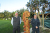 Simon Tanner and David Pattinson at the unveiling of the 2-metre high carving made by Ngawha inmates and representing a thriving Paihia.