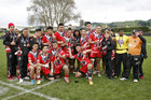 Counties Manukau Stingrays celebrate their victory in the NZRL National Youth Tournament 15s final in Rotorua.  Photo/ Gerhard Egger.