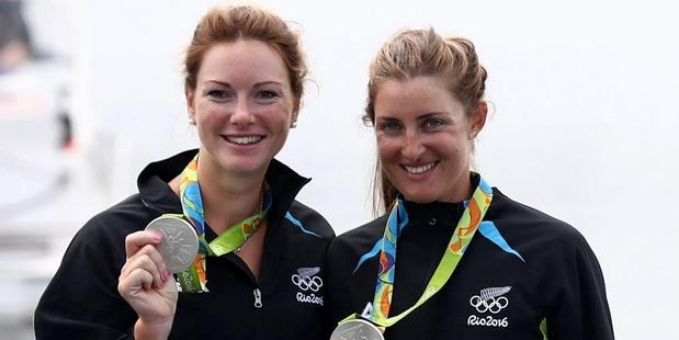 SWEET SILVER: Rebecca Scown (right) and Genevieve Behrent with their silver medals at the Rio Olympics.