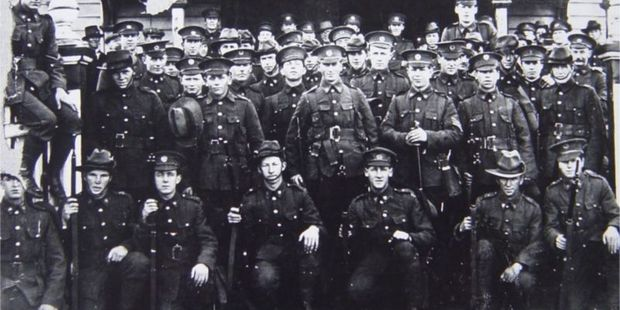 The first contingent of men to leave Hastings for World War I in 1914 Credit:  Michael Fowler Collection