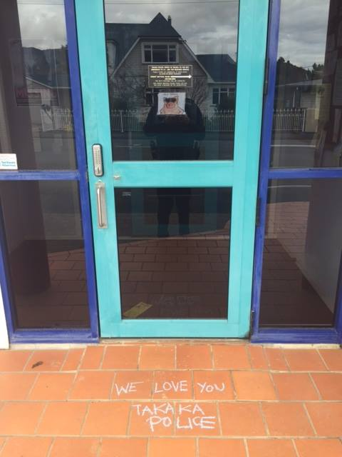 """We faced a bit of a clean-up outside the Takaka Police Station following the weekend protest...but thanks we love you too!"""