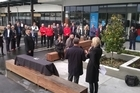 Officials gather for the plaque unveiling at Tauranga Crossing in Tauriko this morning. Photo/John Borren