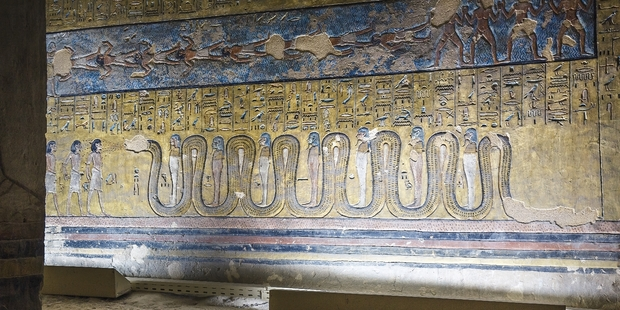 Hyroglyphics in the Twosret and Setnakhe tomb inside the Valley of the Kings in Luxor, Egypt. Photo / jakubkyncl.com