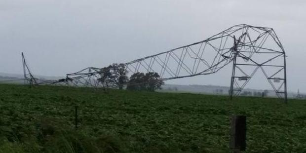 Electricity transmission towers looked a little worse for wear. Photo / Debbie Prosser / Facebook