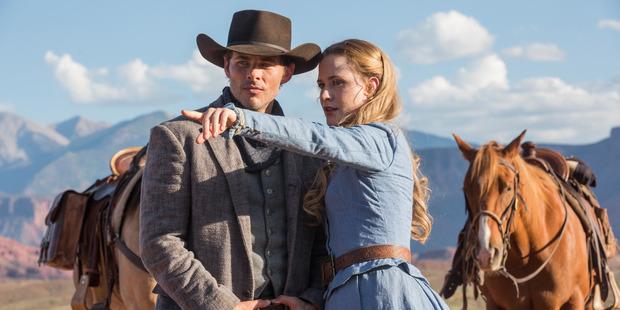 James Marsden and Evan Rachel Wood in a scene from Westworld.