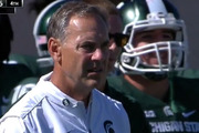 First you see him...Michigan State Spartans coach Mark Dantonio.