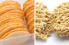 Rice crackers are a highly refined snack that send blood glucose levels soaring and instant noodles are a high carb, high salt meal option. Photos / Getty
