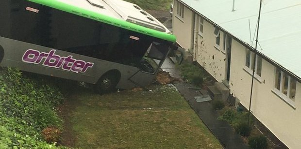 The bus narrowly missed a Waikato Hospital building where administration staff were working. Photo / Supplied