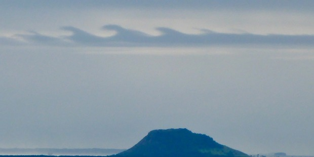 Mt Maunganui was graced with a surf-like cloud yesterday. Photo: Ben Haarmann