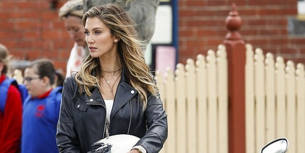 Delta Goodrem stunned on the set of House Husbands in Melbourne. Photo / Daily Mail