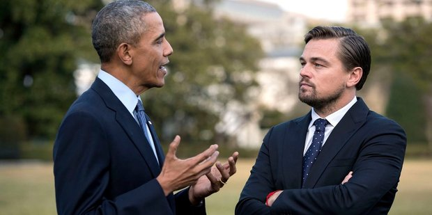Are Barack Obama and Leonardo DiCaprio talking about Titanic or The Revenant? Photo / The White House Twitter